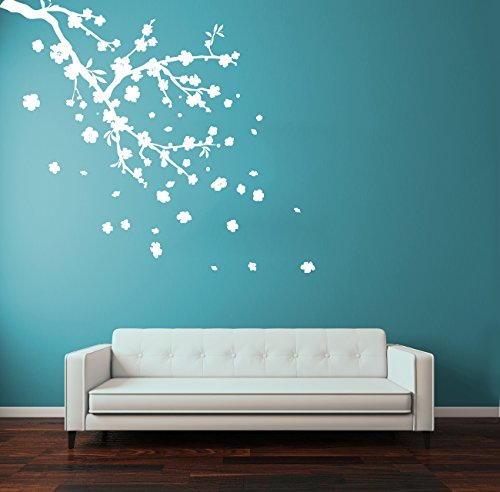 CreativeWallDecals Wall Decal Vinyl Sticker Decals Art Decor Design Flower Blossom Sakura Cherry Branch Corner Leaves Dorm Bedroom House Fashion (R1322)