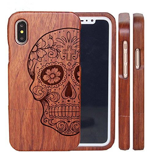 huge selection of c1130 351b0 iPhone X Wood Cases - iPhone 10 Wooden Case Cover with Natural Real  Bamboo/Wood Material and Unique Design Handmade Carved Painting Like  Artwork for ...