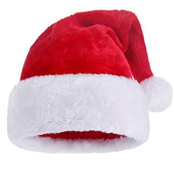 173bf2a1d4083 KFZR Santa Claus Father Christmas Hats Thickened Warm Soft Adult Unisex  12.2*19.6 Inch (W*H)