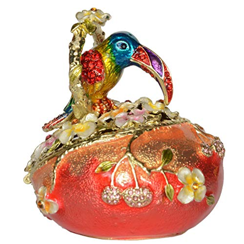 (Jiaheyou Toucan Bird on Faberge Egg Trinket Jewelry Box Bejeweled Bird Miniature Bird Figurines Decoration Gifts)