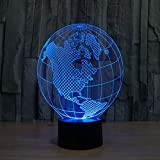 WONFAST Magical Panel 3D Optical Visualization Illusion 7 Colors Change USB Touch Switch Table Lamp Bulbing LED Light Night Lighting Home Decoration Household Lights (Globe)