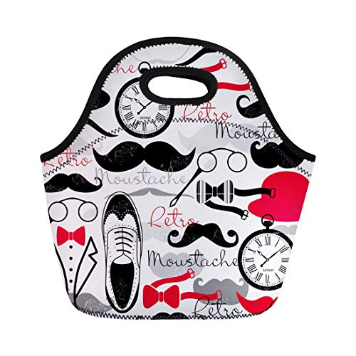 Semtomn Lunch Bags Pattern Hat Retro Vintage British Bowler Mustache Male Brogue Neoprene Lunch Bag Lunchbox Tote Bag Portable Picnic Bag Cooler Bag