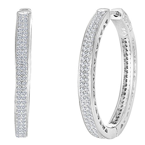 Mia Sarine Womens Pave Set Cubic Zirconia Hoop Earrings in Rhodium over Sterling Silver