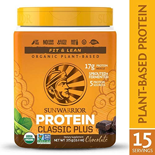 Sunwarrior - Classic Plus, Vegan Protein Powder with Peas & Brown Rice, Raw Organic Plant Based, Chocolate, 15 Servings