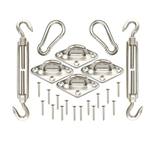 BaiFM 24 Pcs 316 Marine Grade Shade Sail Stainless Steel Hardware Kit Heavy Duty Hardware Kit for Rectangle and Square Sun Shade Sail Installation with Screws