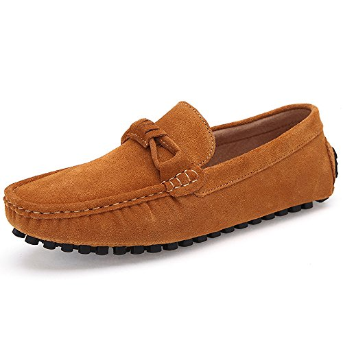 KRIMUS Summer Casual Leather Men Flats Driving Shoes Fashion Moccasins Loafers-yellow-44 - Classic Suede Loafers