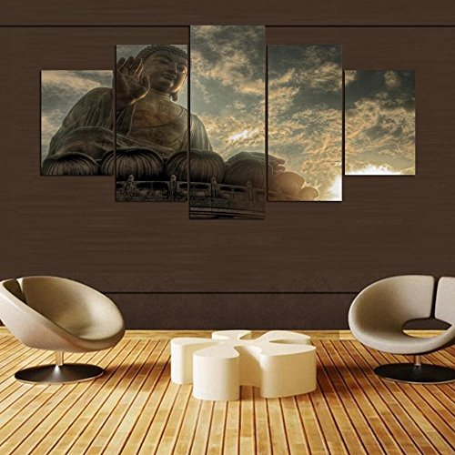 [Small] Premium Quality Canvas Printed Wall Art Poster 5 Pieces / 5 Pannel Wall Decor Buddha big Painting, Home Decor Pictures - With Wooden (Big Poster Frames)