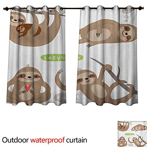 WilliamsDecor Sloth Outdoor Curtains for Patio Sheer Childish Collection of Funny Cute Lazy Sloths Hugging Family Romance Love W72 x L72(183cm x 183cm)