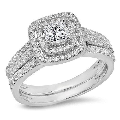 (Dazzlingrock Collection 0.95 Carat (ctw) 14K White Gold White Diamond Halo Bridal Engagement Matching Ring Set 1 CT (Size 7))