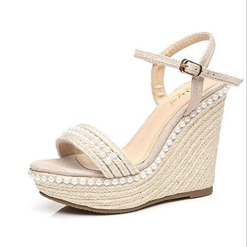 34 Hy Con Weave Desnudo Impermeable Sandalias Alto New Plataforma Sandals color Summer Slope Color Female Ladies Retro Tacón De Pearl Grass Tamaño Desnudo 1qv1r4gXwx