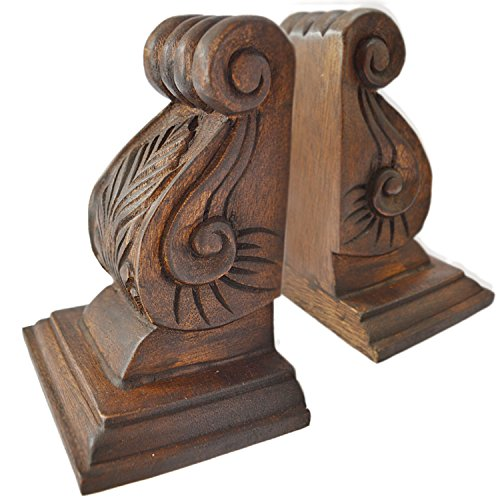 CinMin Hand-Carved Classic Oak Stain Wood Bookends Set of 2, Acanthus