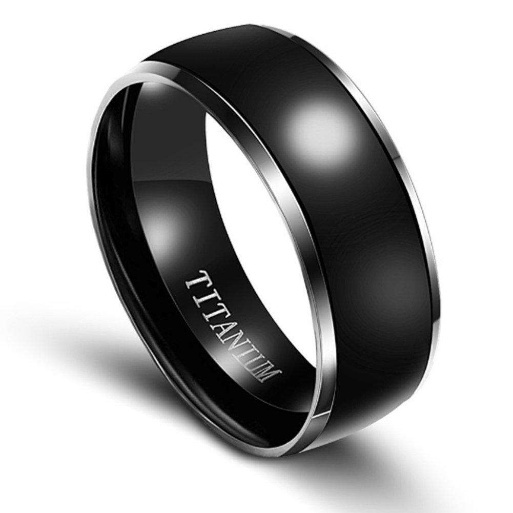 Mens 8MM Black Solid Titanium Metal Wedding Engagement Ring for Men Size 6-13 Van Unico