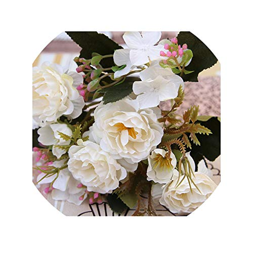 DIY Party Decoration Vintage Silk Artificial Flowers Small Rose Wedding Fake Flowers Festival Supplies Home Decor Bouquet,White ()