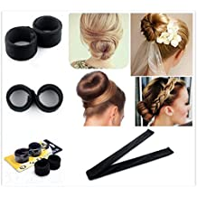 ANGELANGELA Magic Bun Maker Hair Making Braid Styling Tool, Pearl Ribbon French Twist Spiral Curler Disk Donut Updo Chignon Fold Wrap Snap Ponytail Holder Hairstyle Accessories (1pc Black Bun Maker)