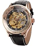 KS Carving Rose Gold Case Skeleton Auto Mechanical Leather Elegant Men's Wrist Watch KS112