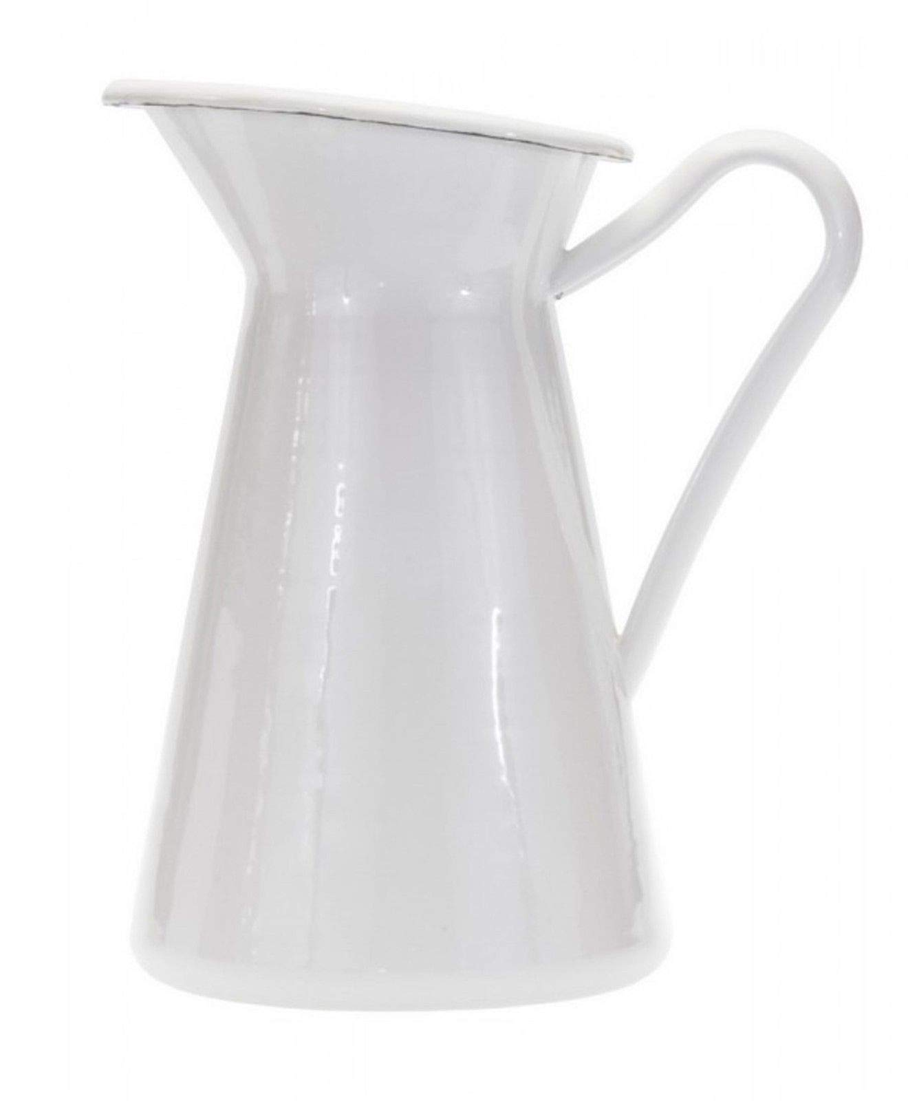 Enamelware White 12'' Tall Serving Pitcher or Vase AM05
