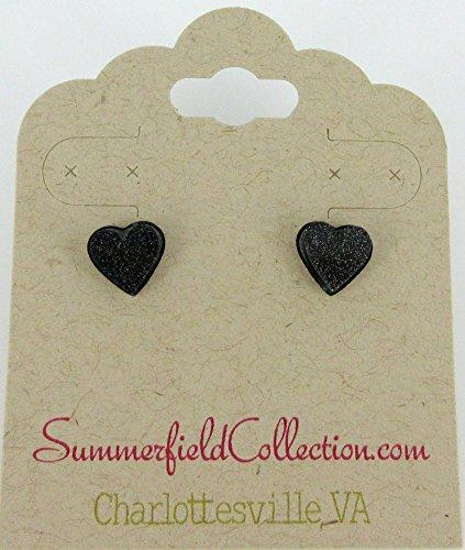 Stainless Steel Black Glitter Acrylic Heart Stud Earrings - Preppy 1980s