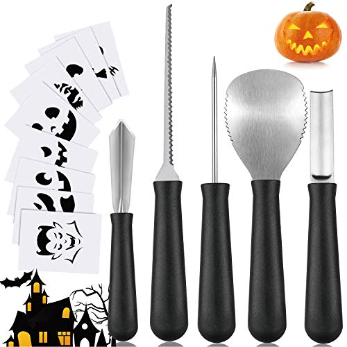 Pumpkin Carving Kit, ONME Halloween Pumpkin Carving Tools Set 4 Pcs Stainless Steel Tools with 10 pcs Pumpkin Carving Stickers