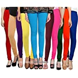 Omikka Women's 160 GSM Cotton Lycra 4 Way Stretchable Churidar Leggings (OMIKLEG002_Multicolour_Free Size) - Pack of 10