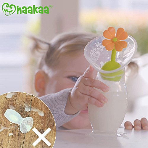 Haakaa Silicone Breast Pump with Suction Base and Flower Stopper 100% Food Grade Silicone BPA PVC and Phthalate Free (4oz/100ml) (Blue) by haakaa (Image #7)