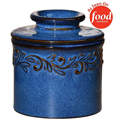 Butter Bell BB-AQDB The Original Crock by L. Tremain, Antique Collection-Denim Blue, 4x4x4,