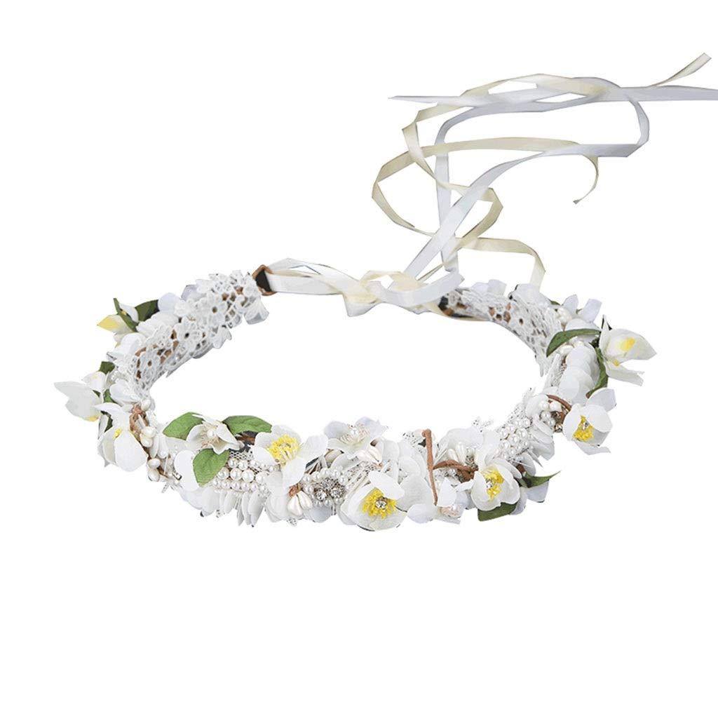 Wreath Flower Bride Headdress Handmade Beach Holiday Accessories Wedding Jewelry Sweet Hair Accessories (Size : 54cm)