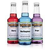 Hawaiian Shaved Ice 3 Flavor Pack of Shaved Ice Syrup | Kit Features Top Snow Cone Syrup Flavors –Cherry, Grape & Blue...