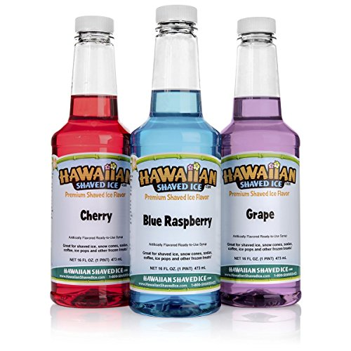 Hawaiian Shaved Ice 3 Flavor Pack of Shaved Ice Syrup | Kit Features Top Snow Cone Syrup Flavors – Cherry, Grape & Blue Raspberry (16oz.) Each Shaved Ice Syrup for Commercial or Household Use (Cone Sno Accessories)