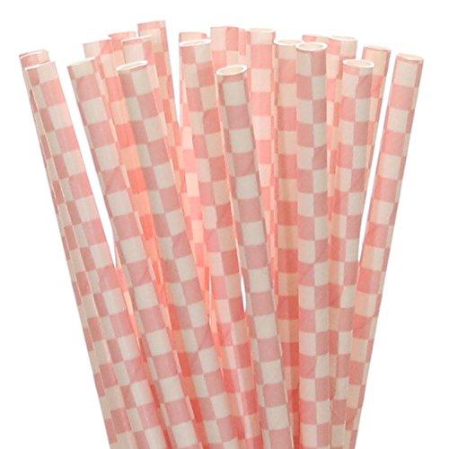 Pink Gingham Paper Straws (25) ()