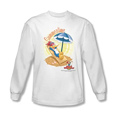 34b331a098be Amazon.com  Woody Woodpecker - Mens Summertime Long Sleeve Shirt In White   Clothing