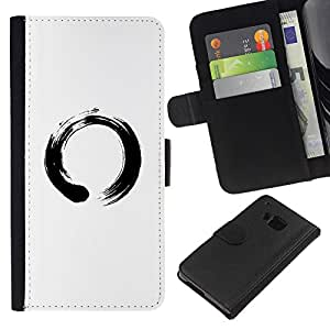 LECELL--Cuero de la tarjeta la carpeta del tirón Smartphone Slots Protección Holder For HTC One M9 -- Símbolo chino del Círculo --