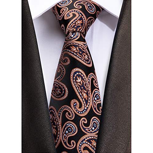 Necktie Black Background (Dubulle Mens Fashion Silk Necktie Set Jacquard Designer Ties Pocket Square Cufflinks Set Black Background Orange Paisley Style)