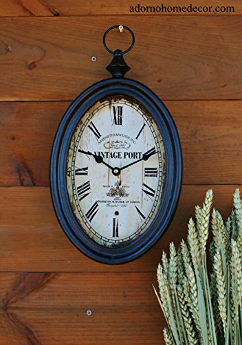 (Small Oval Metal Wall Clock Vintage Port Antique Chic French Unique Rustic)