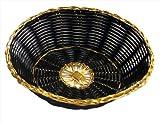 New Star Foodservice 44232 Polypropylene Round Hand Woven Food Basket (Set of 12), 8'' x 2.5'', Black with Golden Trim