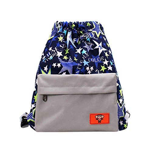 School Bag Vibola Women Teenage Girl Boy Print Zipper Backpack (Gray)