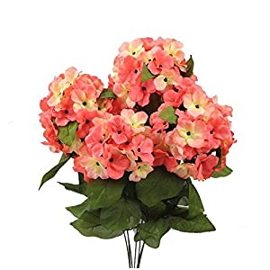 22 Inch X-Large Satin Artificial Hydrangea Silk Flower Bush 7 Heads 10