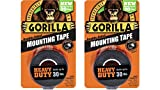"Gorilla 6055001-2 Double-Sided Heavy Duty Mounting Tape (2 Pack), 1"" x 60"", Black"