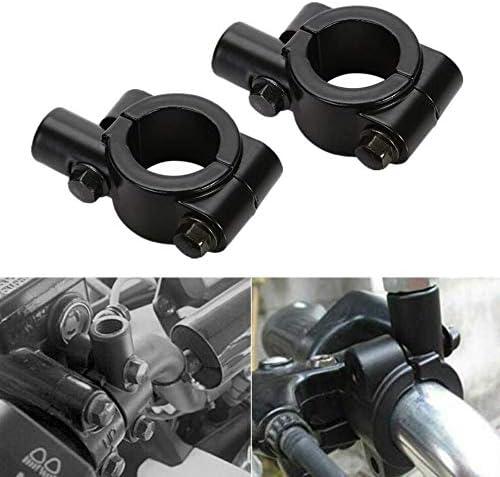 Lot de 2 supports pour r/étroviseur de moto Noir Pour guidon de 22 mm