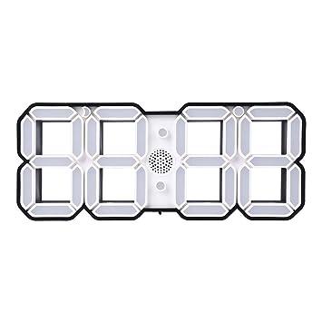 asiproper Reloj de Pared 3D LED Reloj de Alarma Digital de Pared LED con 3 Ajustes de Pantalla de Brillo (Blanco): Amazon.es: Hogar