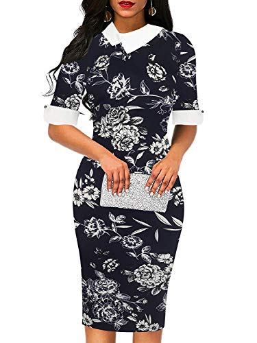 (Women's Vintage Chic Doll Collar Cotton Pencil Casual Dress (XXL, Blue WhitePR))