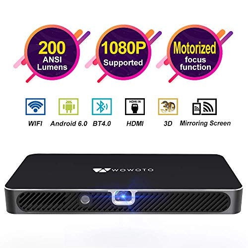 Mini Projector WOWOTO A8 Pro 200 ANSI Lumen Android 6.0 Support Full HD 1080P Smart Wi-Fi Projector 4200mAh battery 150″Image DLP Video Projector with BT4.0/HDMI/USB/Outdoor Projector for Home Theater