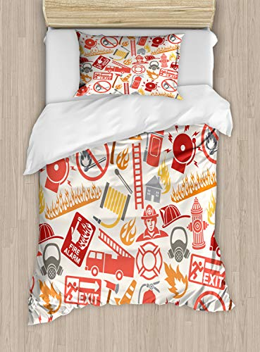 Duvet Cover Set Twin Size, Firefighting Themed Icons Pattern Emergency Exit Alarm Flames Matches Heroes, Decorative 2 Piece Bedding Set with 1 Pillow Sham, Multicolor ()
