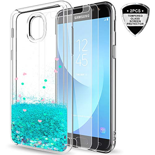 Galaxy J3 2018/J3 Star/J3 Achieve/Express Prime 3/Amp Prime 3 Case w/Tempered Glass Screen Protector [2 Pack] for Girls Women,LeYi Glitter Liquid Case for Samsung J3V J3 V 3rd Gen ZX Turquoise