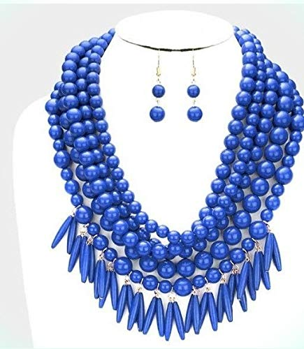 arl Long Bib Multi Layered Strand Bead Necklace Set For Women ()