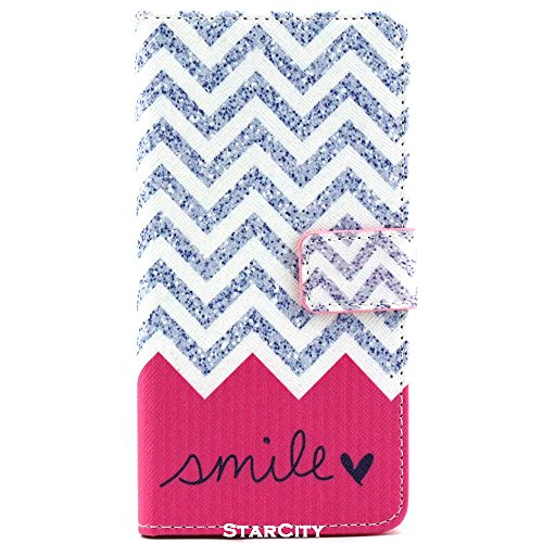 Galaxy Grand Prime Case, StarCity ® Samsung Galaxy Grand Prime [SM-G530] Case, Wallet Flip Stand Cover Case with Credit Card Holder [Back TPU Cover] For Samsung Galaxy Grand Prime (Chevron Smile)