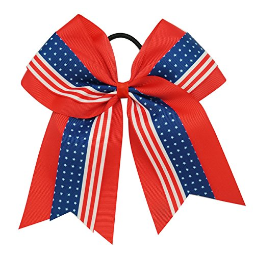 USA Patriotic July 4th Girls Cheer Hair Bow Red White and Blue -