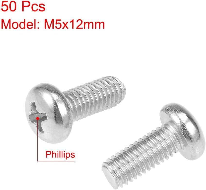 uxcell M5x10mm Machine Screws Phillips Cross Pan Head Screw 304 Stainless Steel Fasteners Bolts 50Pcs