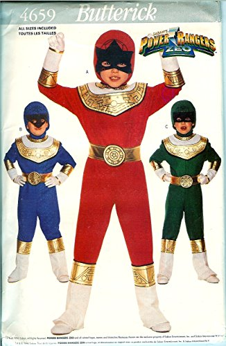 Butterick 4659 Sewing Pattern Power Ranger Costumes Size 4 - 14 (Power Ranger Halloween Costume Pattern)