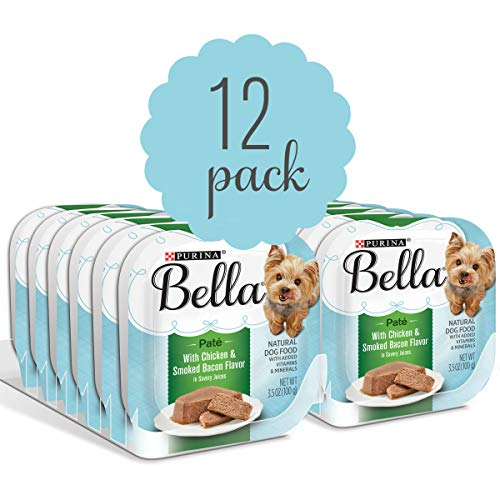 Purina Bella Natural Small Breed Pate Wet Dog Food, With Chicken & Smoked Bacon Flavor in Savory Juices - (12) 3.5 oz. Trays