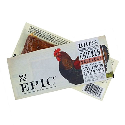 Epic All Natural Meat Bar, 100% Natural, Chicken Sriracha, 1.5 ounce bar, 12 Count